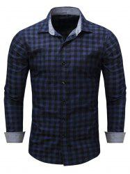 Turndown Collar Checked Chambray Shirt