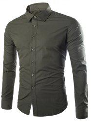 Slimming Turndown Collar Long Sleeve Business Shirt