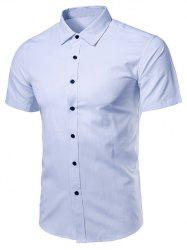 Turndown Collar Short Sleeve Business Shirt - LIGHT BLUE