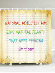 Natural Quote Print Mildewproof Shower Curtain
