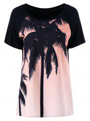 Palm Tree Scoop Neck T-shirt imprimé - Rose Clair