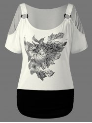 Floral Graphic Cold Shoulder T-Shirt