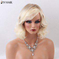 Siv Hair Medium Curly Shaggy Side Bang Capless Human Hair Wig - LIGHT GOLD