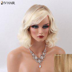 Siv Hair Medium Curly Shaggy Side Bang Capless Human Hair Wig - BLONDE
