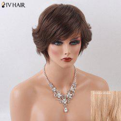 Siv Hair Short Side Bang Natural Human Hair Wig - BROWN WITH BLONDE