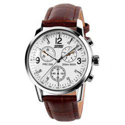 SKMEI Faux Leather Tachymeter Quartz Watch