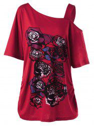 Skew Collar Rose Print Shirred T-Shirt