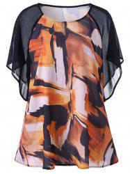 Raglan Sleeve Graphic Plus Size Blouse