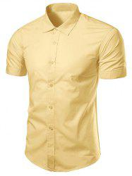 Slimming Turndown Collar Short Sleeve Business Shirt