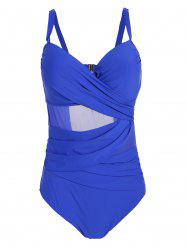 Plus Size Mesh Insert One Piece Swimwear