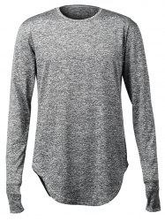 Stretchy Long Sleeve Finger Hole Design T-Shirt - DEEP GRAY