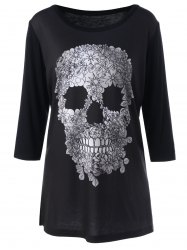 Plus Size Floral Skull Tee