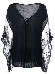 Flare Sleeve Lace Trim Plus Size T-Shirt
