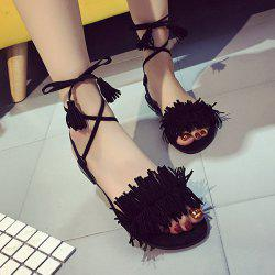 Fringe Flat Heel Sandals - BLACK