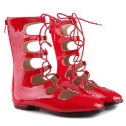 Patent Leather Zipper Flat Shoes - RED