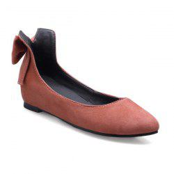 PU Leather Bow Flat Shoes