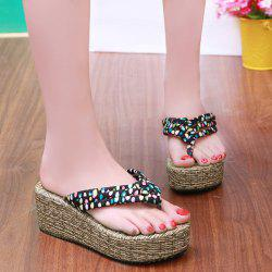Polka Dot Platform Slippers - BLACK