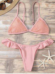 Mesh Insert Bathing Suit with Ruffles - PINK L