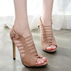 Buckled Gladiator Sandals with Heel - APRICOT