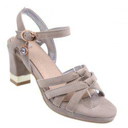 Block Heel Cross Strap Sandals