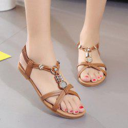 Cross Strap Faux Leather Sandals