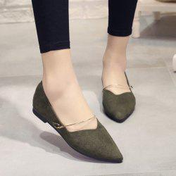 Suede Pointed Toe Metal Flat Shoes