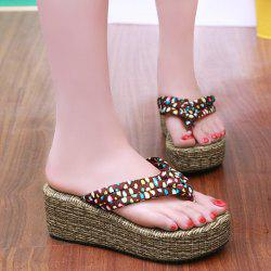Polka Dot Platform Slippers - DEEP BROWN