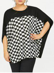 Plus Size Dolman Sleeve Checked Baggy T-Shirt