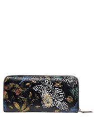 Floral Embossed Zip Around Wallet