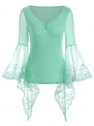 V Neck Bell Sleeve Sheer Lace Panel T-Shirt - CLOVER M