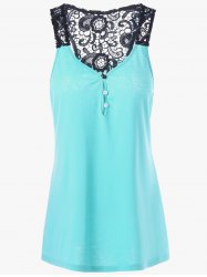 Button Lace Panel Racerback Tank Top - LAKE BLUE