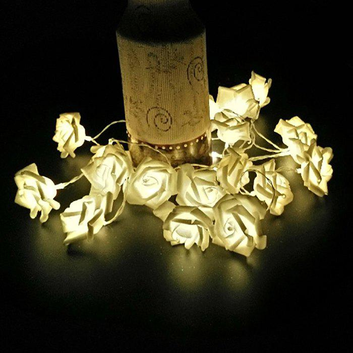 Party LED Rose Flower String LightsHOME<br><br>Color: WARM WHITE LIGHT; Power Source: Battery (not included);