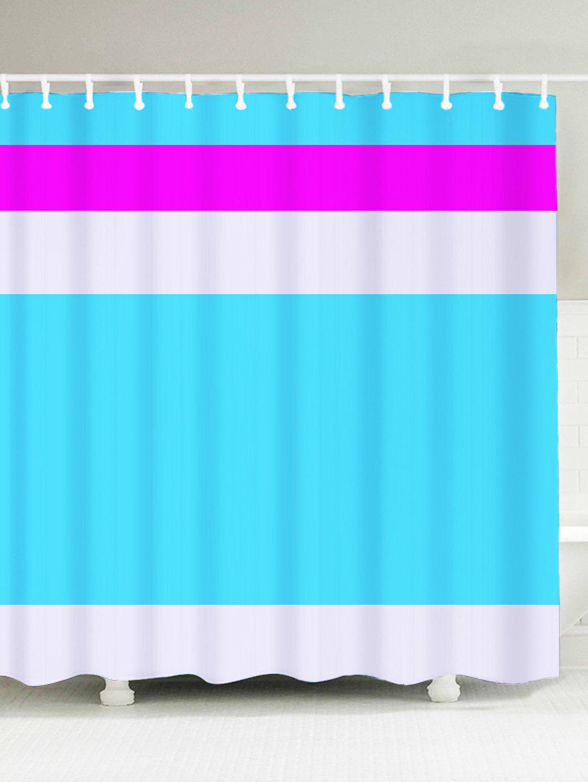 Chic Polyester Fabric Color Block Shower Curtain