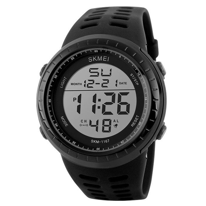 SKMEI Pedometer Luminous Digital Sports WatchJEWELRY<br><br>Color: BLACK; Gender: For Unisex; Style: Sport; Type: Sport Watch; Feature: Alarm,Auto Date,Chronograph,Luminous,Others,Pedometer; Index Dial: Digital; Case material: Resin; Band material: Rubber; Movement: Digital; Dial Shape: Round; Water-Proof: No; Case Thickness(MM): 15mm; Dial Diameter: 4.8cm; Band Length(CM): 2-2.9cm; Band Width(CM): 24cm; Package Contents: 1 x Watch;