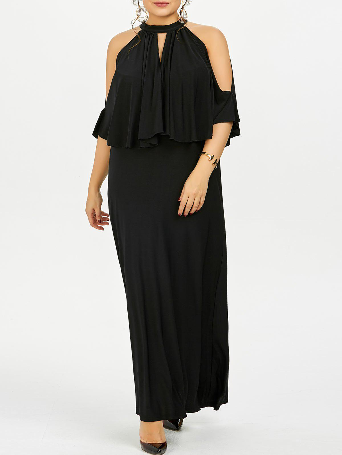 Cold Shoulder Capelet Plus Size Evening DressWOMEN<br><br>Size: 6XL; Color: BLACK; Style: Brief; Material: Cotton,Cotton Blend,Polyester; Silhouette: Ball Gown; Dresses Length: Floor-Length; Neckline: High Neck; Sleeve Type: Cold Shoulder; Sleeve Length: Short Sleeves; Waist: High Waisted; Embellishment: Hollow Out,Ruffles; Pattern Type: Solid Color; Elasticity: Elastic; With Belt: No; Season: Spring,Summer; Weight: 0.3700kg; Package Contents: 1 x Dress;