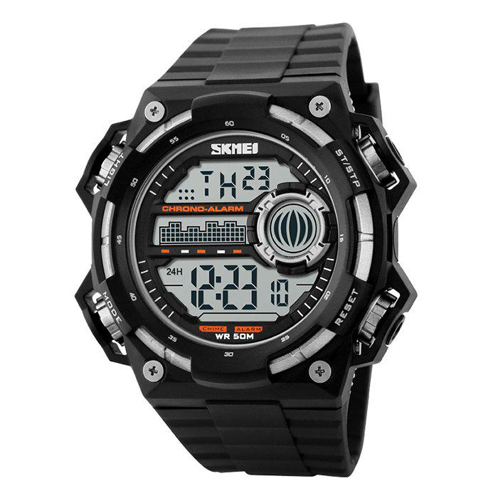 SKMEI Outdoor Alarm Luminous Digital WatchJEWELRY<br><br>Color: SILVER; Gender: For Men; Style: Sport; Type: Sport Watch; Feature: Alarm,Luminous; Index Dial: Digital; Case material: Alloy; Band material: Silicone; Movement: Digital; Dial Shape: Round; Water-Proof: No; Case Thickness(MM): 15mm; Dial Diameter: 5.3cm; Band Length(CM): 2-2.9cm; Band Width(CM): 26.5cm; Package Contents: 1 x Watch;