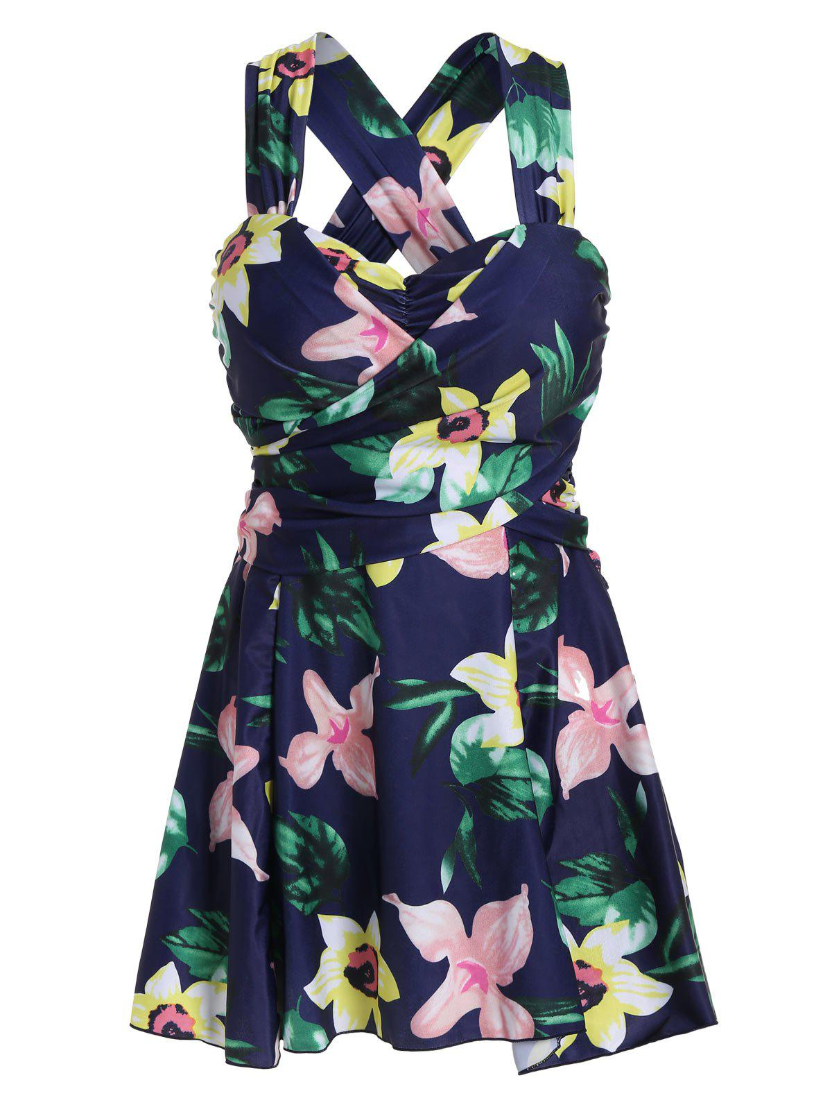 Plus Size HawaiianFloral High Waist SwimdressWOMEN<br><br>Size: 6XL; Color: FLORAL; Gender: For Women; Swimwear Type: One Piece; Material: Polyester; Bra Style: Padded; Support Type: Underwire; Pattern Type: Floral; Placement Print: No; Waist: High Waisted; Elasticity: Elastic; Weight: 0.4500kg; Package Contents: 1 x Swimdress;