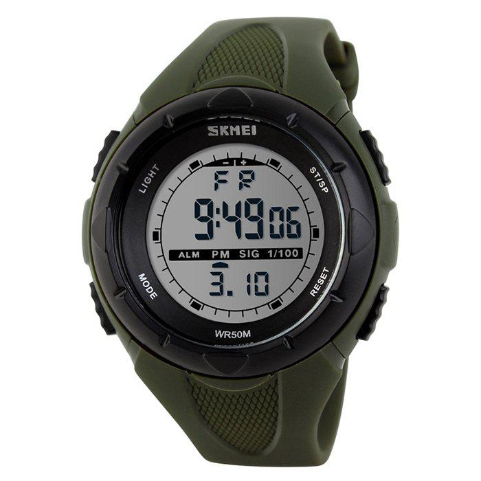 SKMEI Outdoor Luminous Digital Sports WatchJEWELRY<br><br>Color: ARMY GREEN; Gender: For Unisex; Style: Sport; Type: Sport Watch; Index Dial: Analog; Case material: Resin; Band material: Rubber; Movement: Digital; Dial Shape: Round; Water-Proof: No; Case Thickness(MM): 16mm; Dial Diameter: 4.4cm; Band Length(CM): 1-1.9cm; Band Width(CM): 21.5cm; Package Contents: 1 x Watch;