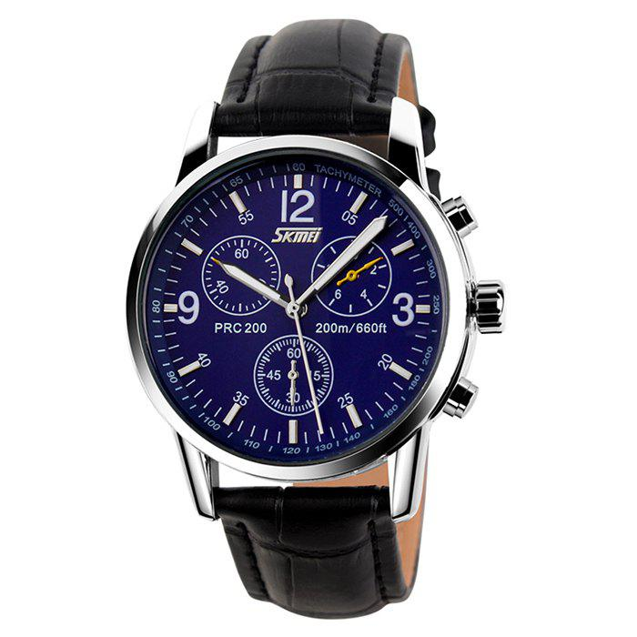 SKMEI Faux Leather Tachymeter Quartz WatchJEWELRY<br><br>Color: BLUE; Gender: For Men; Style: Formal; Type: Quartz watch; Index Dial: Analog; Case material: Alloy; Band material: PU Leather; Movement: Quartz; Dial Shape: Round; Water-Proof: No; Case Thickness(MM): 13mm; Dial Diameter: 3.9cm; Band Length(CM): 1-1.9cm; Band Width(CM): 21cm; Package Contents: 1 x Watch;