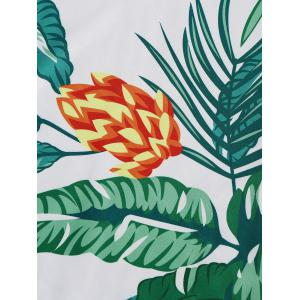 Leaves Flower Round Fringed Beach Throw - GREEN ONE SIZE