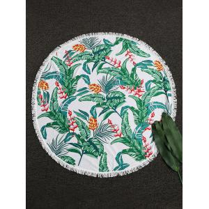 Leaves Flower Round Fringed Beach Throw - Green - One Size