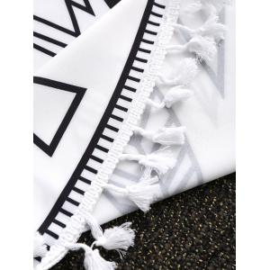 Chinese Tai Chi Tassel Round Beach Throw - WHITE AND BLACK ONE SIZE