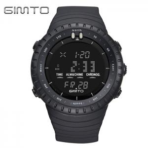 GIMTO Silicone Luminous Digital Sports Watch - Black