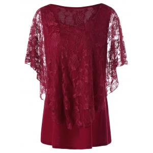 Plus Size Lace Overlay Tee - Wine Red - 4xl
