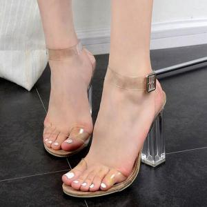 Clear Heel Transparent Plastic Sandals - APRICOT 38