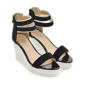 Suede Zipper Wedge Heel Sandals - BLACK 39
