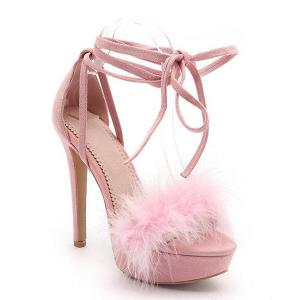 Faux Fur Stiletto Heel Sandals - Pink - 39