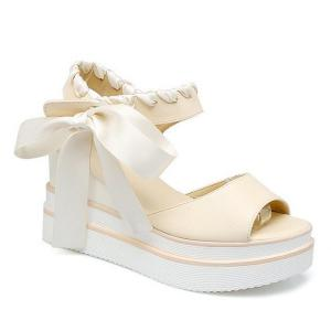 Ribbons Platform Sandals - Off-white - 39