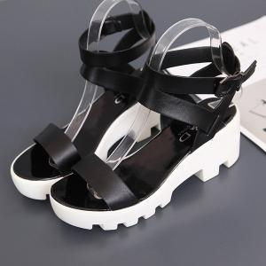PU Leather Ankle Strap Sandals - BLACK 39