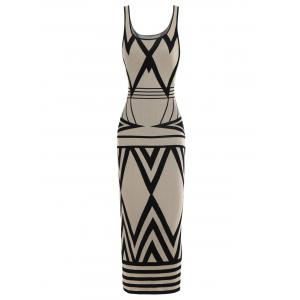 Zigzag Maxi Tank Dress - Light Beige - Xl